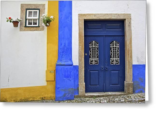 Blue Door Of Medieval Obidos Greeting Card