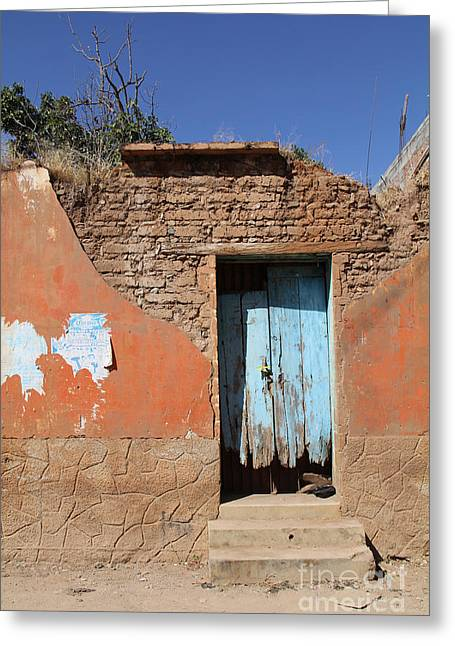 Blue Door Olinala Mexico Greeting Card by Linda Queally