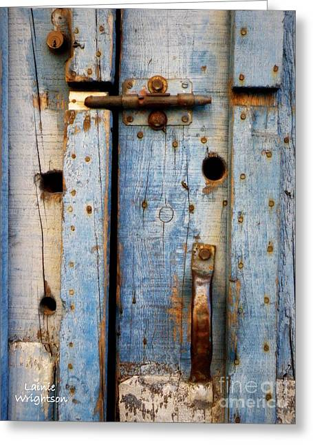 Blue Door Weathered To Perfection Greeting Card