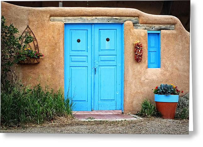 Blue Doors Of Taos Greeting Card by Lucinda Walter