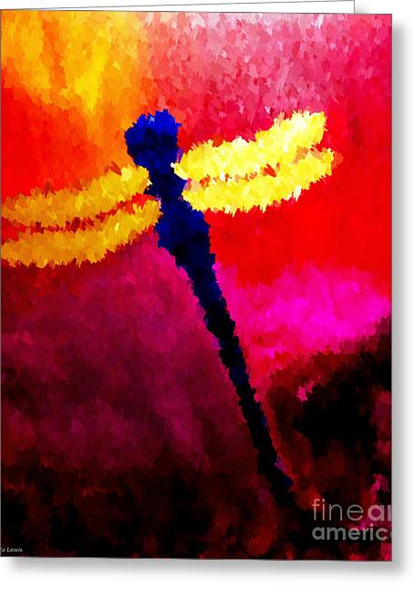 Greeting Card featuring the painting Blue Dragonfly No 2 by Anita Lewis