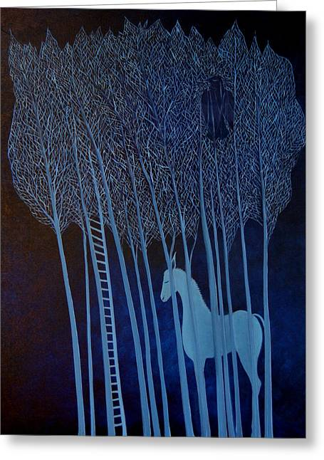 Greeting Card featuring the painting Blue Dreams by Tone Aanderaa