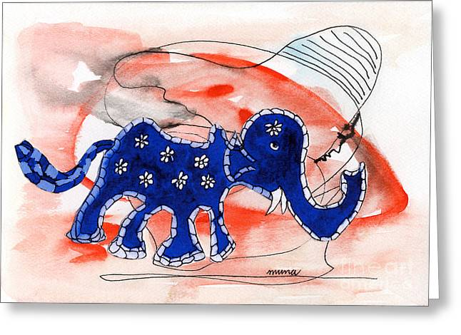 Blue Elephant In A Museum Greeting Card by Mukta Gupta