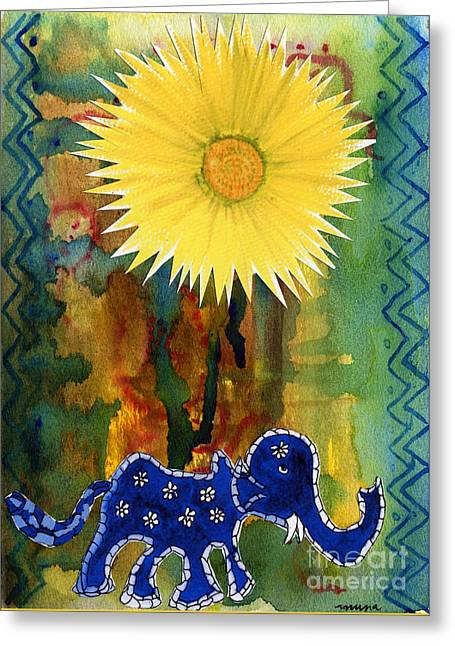 Blue Elephant In The Rainforest Greeting Card by Mukta Gupta