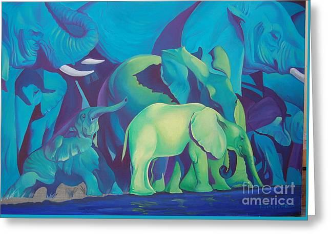 Blue Elephants Greeting Card