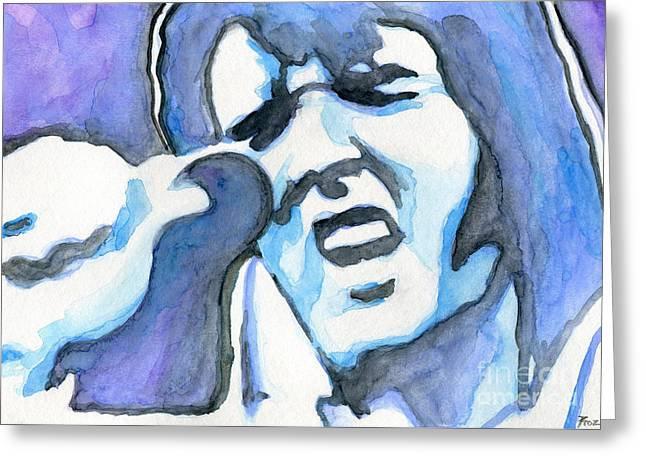 Blue Elvis Greeting Card by Roz Abellera Art