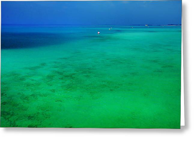 Blue Emerald. Peaceful Lagoon In Indian Ocean  Greeting Card by Jenny Rainbow