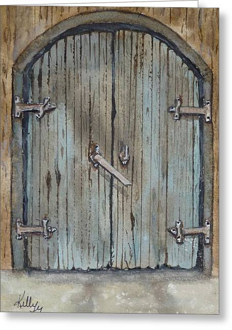 Greeting Card featuring the painting Blue Entrance Door Has Stories by Kelly Mills