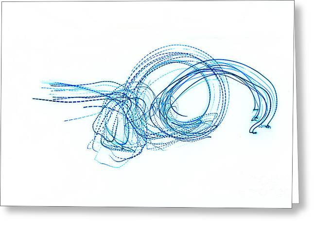 Blue Escargot Abstract Greeting Card by George Zhouf