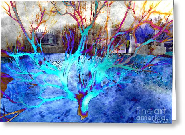 Blue Explosion Greeting Card