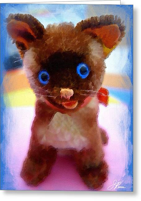 Greeting Card featuring the painting Blue Eyed Kitty by Joan Reese