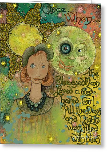 Blue-eyed Moon Greeting Card by Carol Jacobs