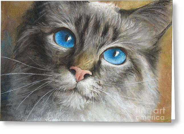 Blue Eyes Greeting Card by Tobiasz Stefaniak