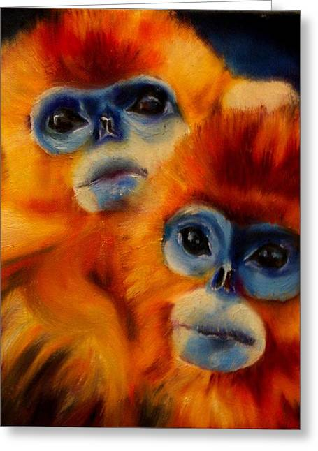 Blue Faced Monkey Greeting Card