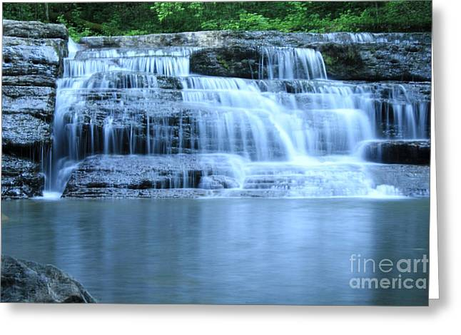Cold Water Greeting Cards - Blue Falls Greeting Card by Melissa Petrey