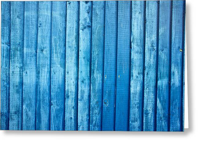 Blue Fence Greeting Card by Tom Gowanlock