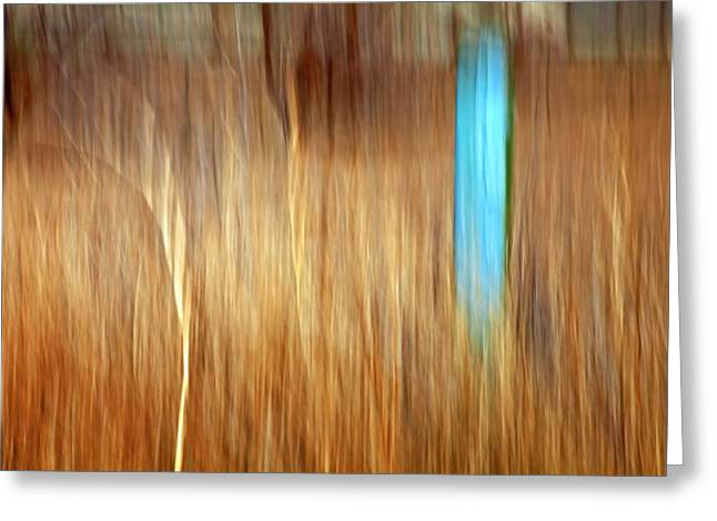 Blue Fencepost Greeting Card by Theresa Tahara