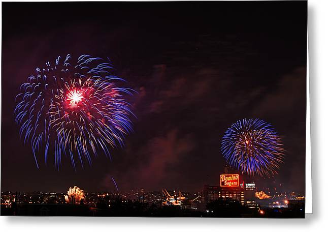 Blue Fireworks Over Domino Sugar Greeting Card