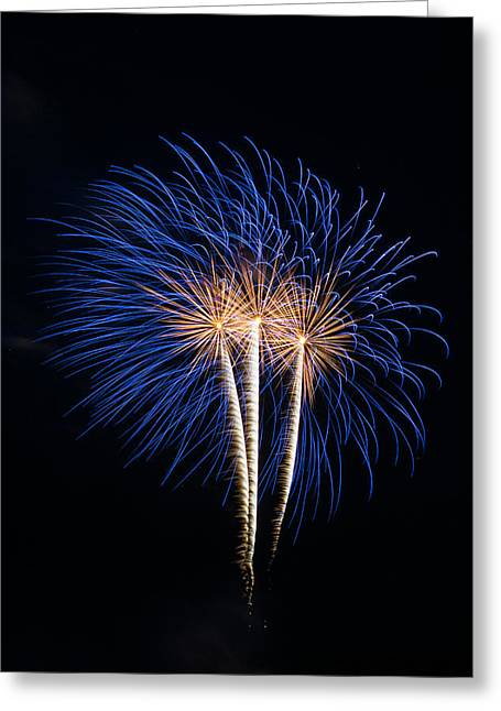 Blue Fireworks Greeting Card by Paul Freidlund
