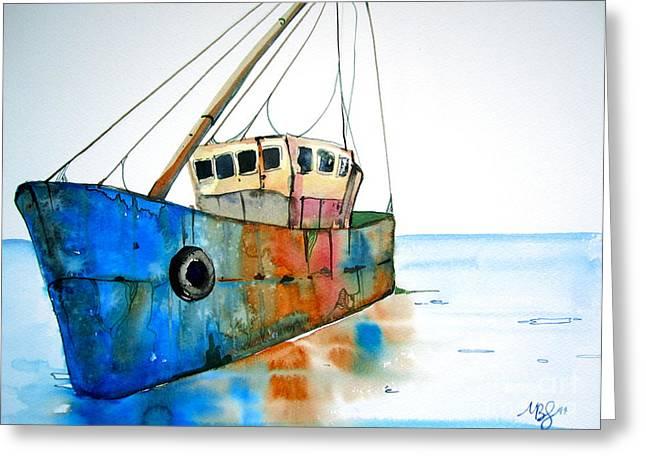 Blue Fishing Boat Greeting Card by Maya Simonson