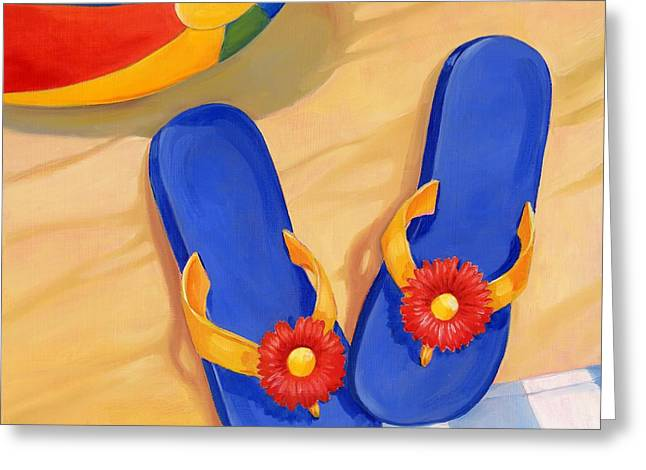 Blue Flip Flops Greeting Card by Paul Brent