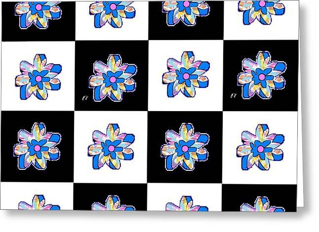 Blue Flower Dance Greeting Card by Ann Calvo