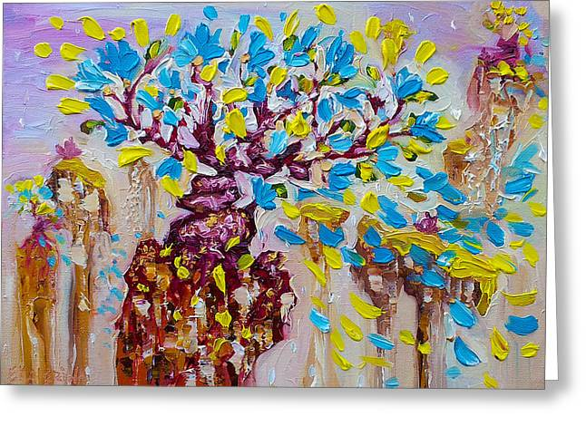 Blue Flower Painting Tree Art Oil On Canvas By Ekaterina Chernova Greeting Card