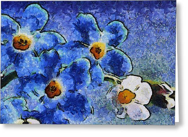 Blue Flowers - Van Gogh Style Greeting Card by Lilia D