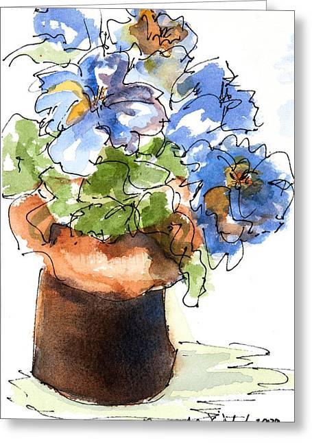 Blue Flowers Greeting Card by Barbara Wirth