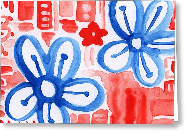 Blue Flowers- Floral Painting Greeting Card by Linda Woods