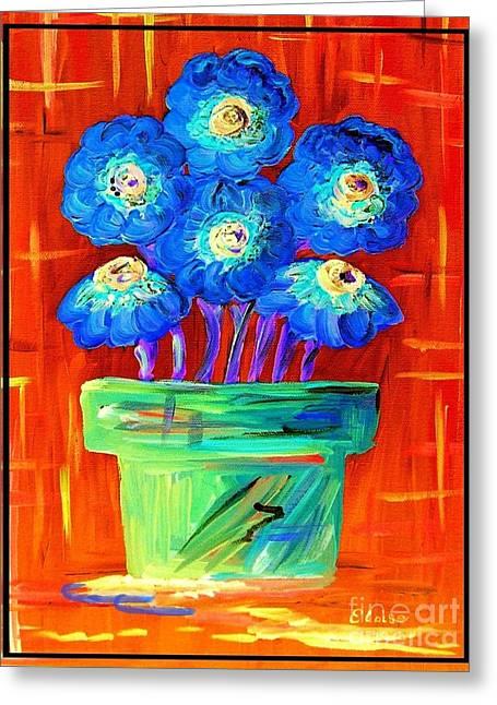 Blue Flowers On Orange Greeting Card by Eloise Schneider