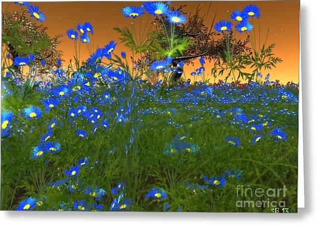 Greeting Card featuring the digital art Blue Flowers by Susanne Baumann