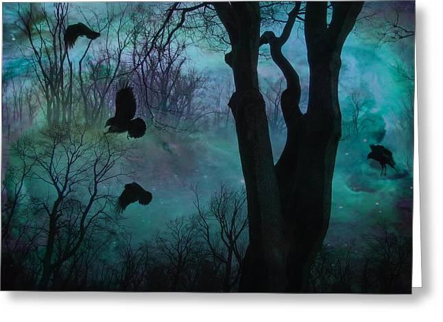 Blue Forest Blackbirds Dance Greeting Card
