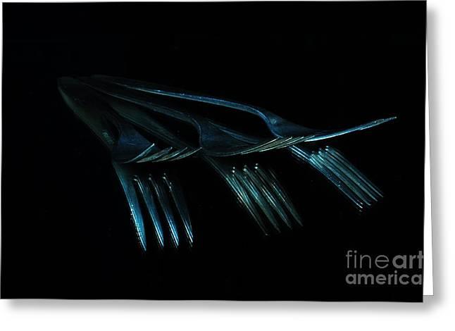 Blue Forks Greeting Card by Randi Grace Nilsberg