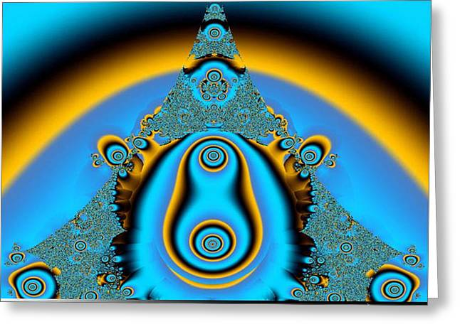 Blue Fractal 01 Greeting Card