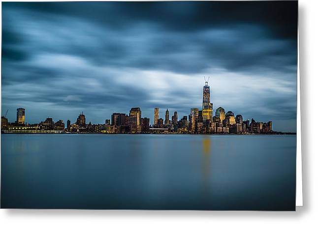 Blue Freedom Tower Greeting Card by Chris Halford