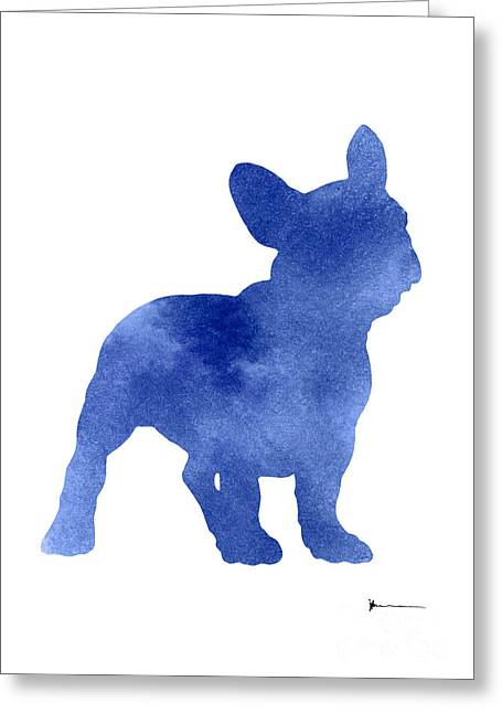 Blue French Bulldog Silhouette Art Print Watercolor Painting Greeting Card by Joanna Szmerdt