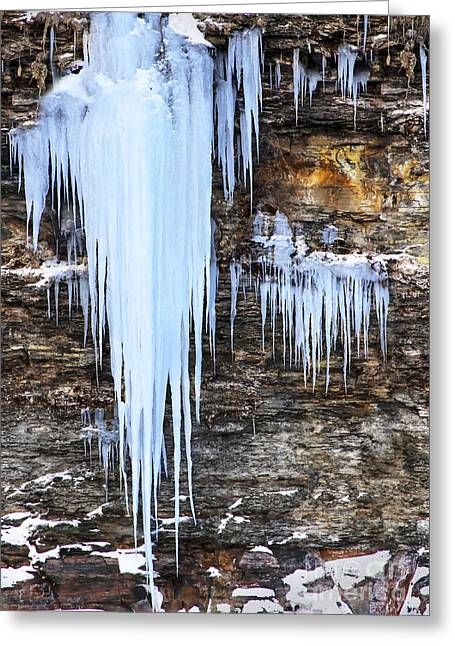 Blue Frozen Icicle Stalactites Greeting Card