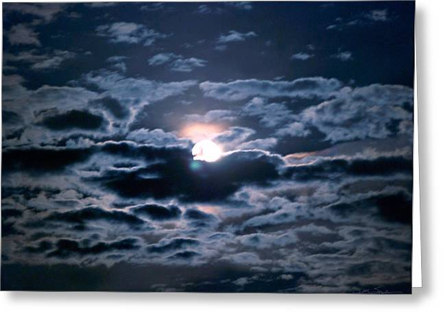 Blue Full Moon In Night Sky Greeting Card by Julie Magers Soulen