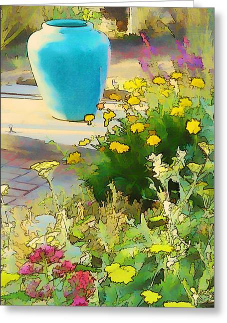 Blue Garden Pot Greeting Card