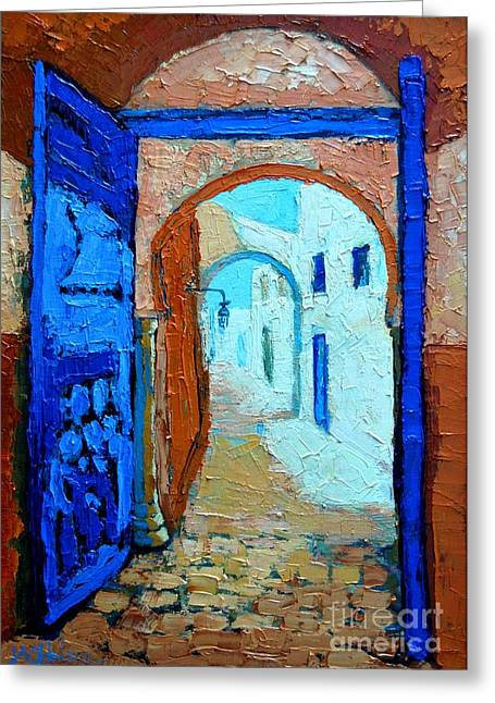 Greeting Card featuring the painting Blue Gate by Ana Maria Edulescu