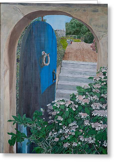 Blue Gate On Eastern Point Greeting Card