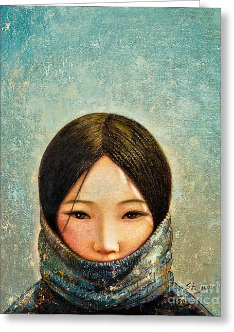 Blue Girl Greeting Card by Shijun Munns