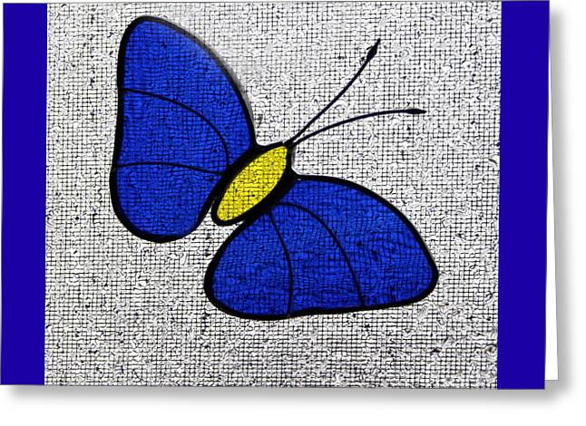 Blue Glass Butterfly Square Greeting Card