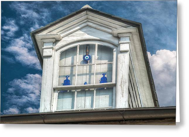 Blue Glass In Window Greeting Card by Brenda Bryant