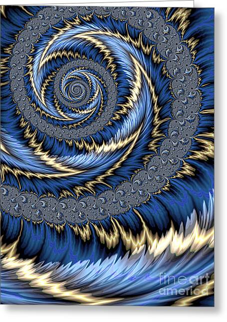 Blue Gold Spiral Abstract Greeting Card by John Edwards