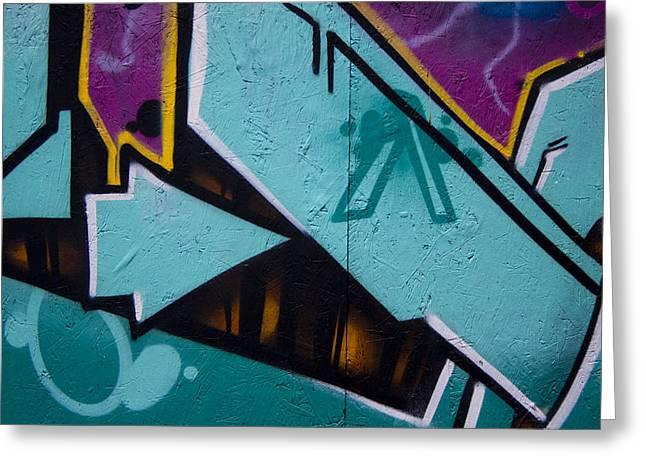 Blue Graffiti Arrow Greeting Card by Carol Leigh