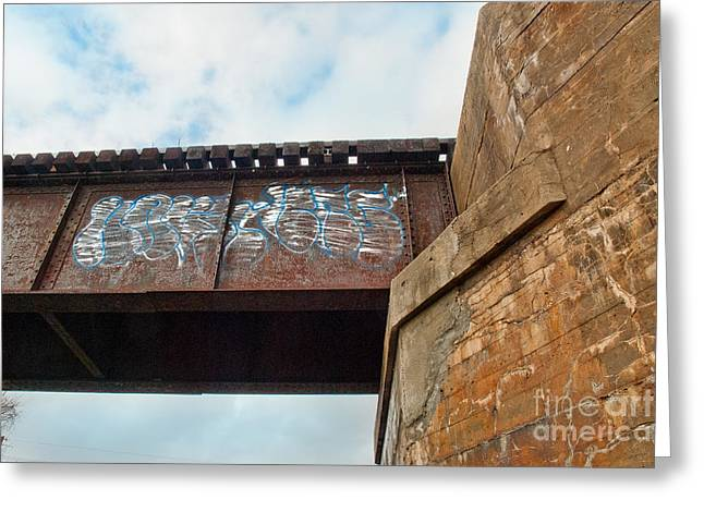 Greeting Card featuring the photograph Blue Graffiti by Lena Wilhite