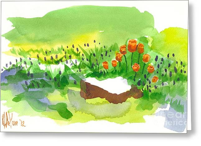 Blue Grape Hyacinths With Red Tulips And Tree Stump Greeting Card by Kip DeVore