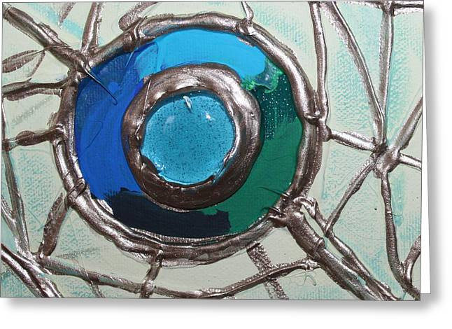Blue Green And Gold Circle Greeting Card by Cynthia Snyder